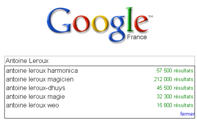 Google Suggest Antoine Leroux