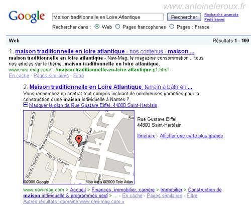 Google map déplié dans les serp
