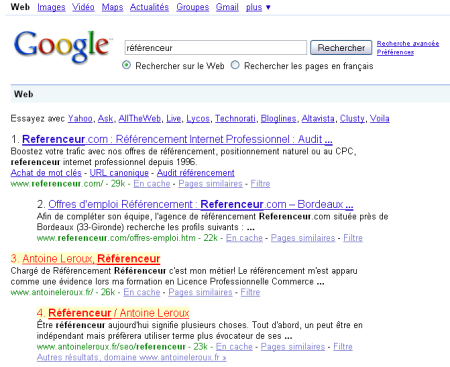 référenceur dans les serp de Google