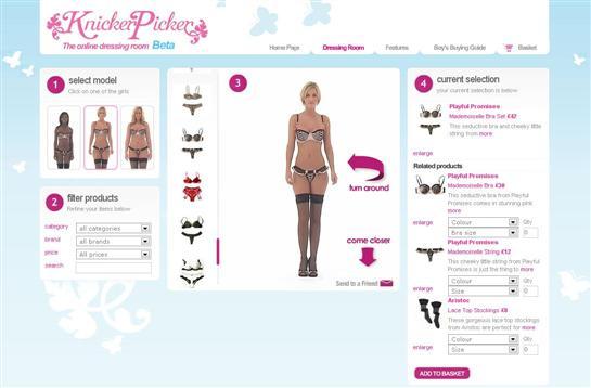 Knickerpicker, visualisation de lingerie sur mannequins sexy mais virtuels