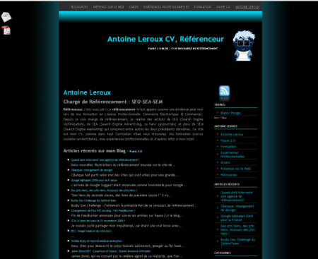 template actuel du blog - Noir et Bleu