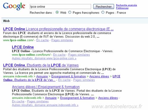 Fil d'airane sitelinks
